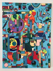 "Blutopia. Acrylic on canvas 48"" x 36"""