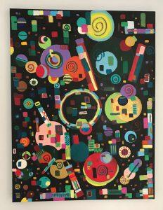 "Pop Pop Pop Acrylic on canvas 48"" x 36"""