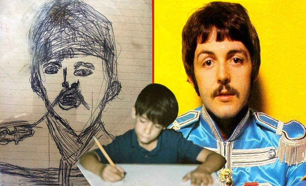 Me, age 8, drawing the picture of Paul from the inside of the Sgt. Peppers album.